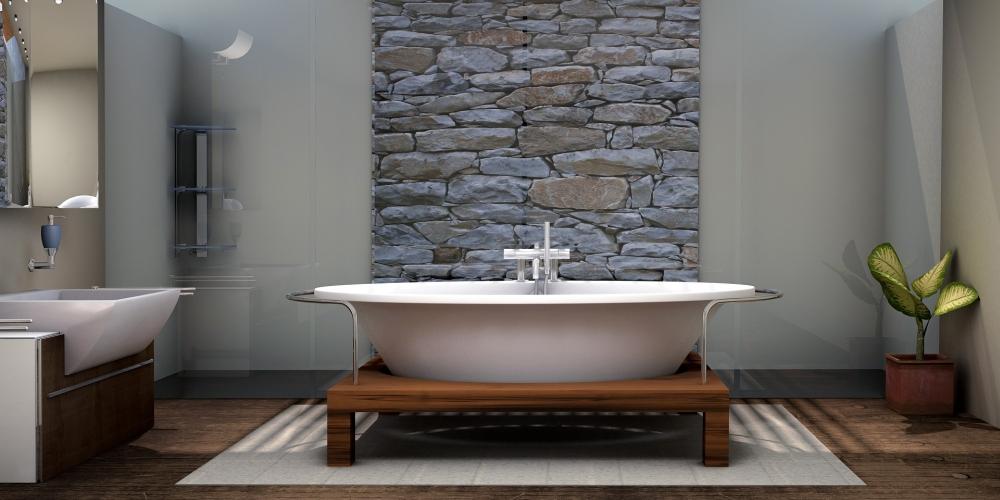 натуральный камень в ванной, стеновой камень в ванной, каменная стена в ванной