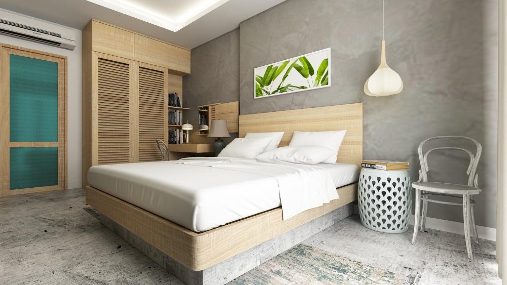 цвет краски спальни, серая планировка спальни, светлая спальня