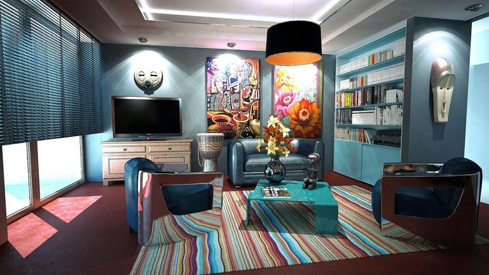 яркие цвета в гостиной, гостиная в ярких тонах, дизайны в гостиной