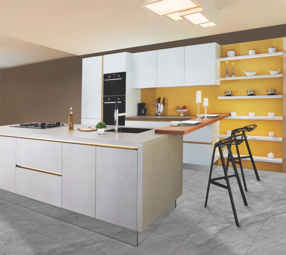 покраска кухни, краска на плитке, гипсокартон на кухне