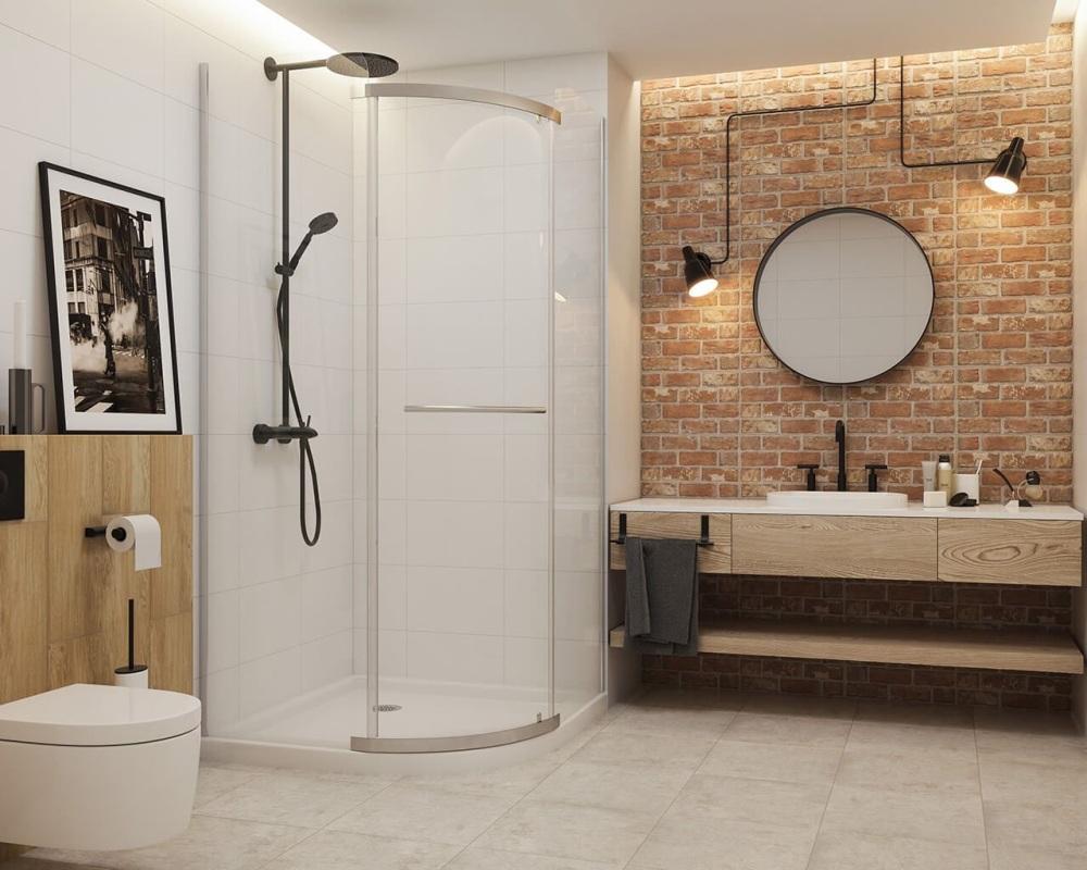 łazienka Z Cegłą I Drewnem Czy Tylko łazienka Industrialna