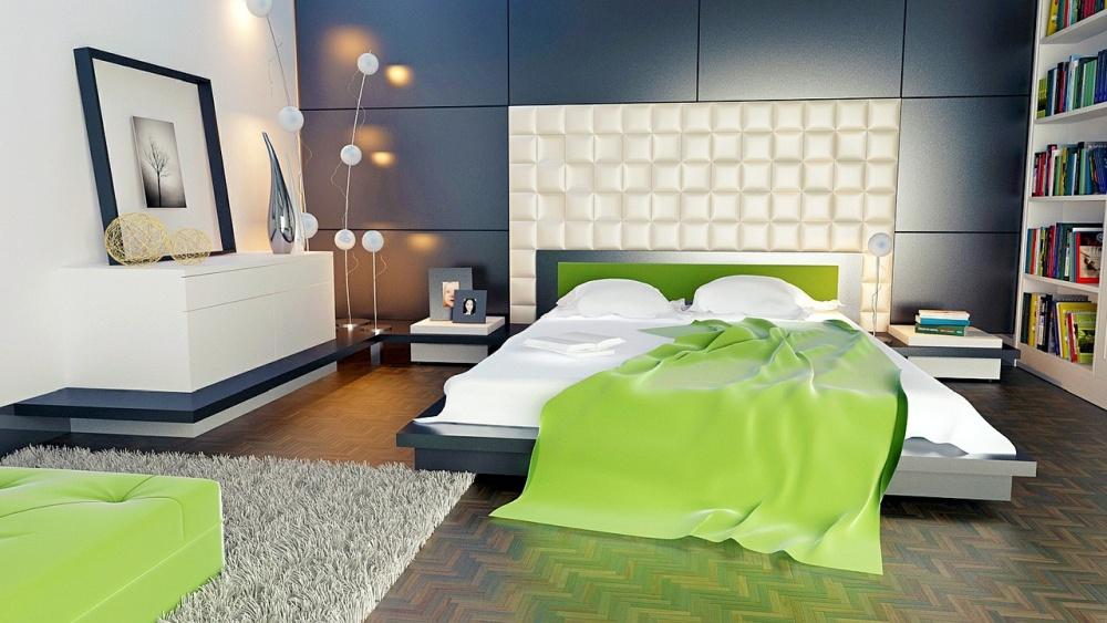 деревянный паркет в спальне, пол в зеленой спальне, пол в зеленой комнате
