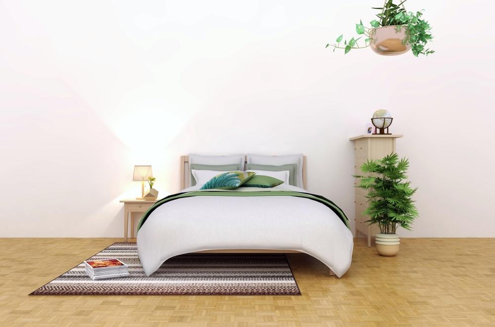 зелень в спальне, зеленое покрывало, зеленые растения в спальне